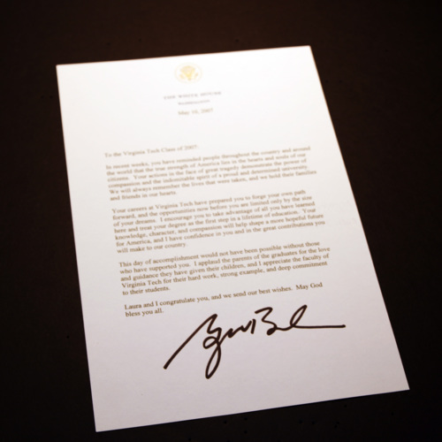 Letter written by George W. Bush to the Virginia Tech Class of 2007