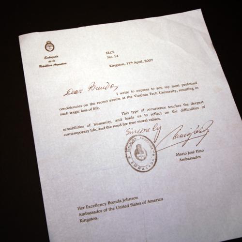 Letter from Ambassador of Argentina