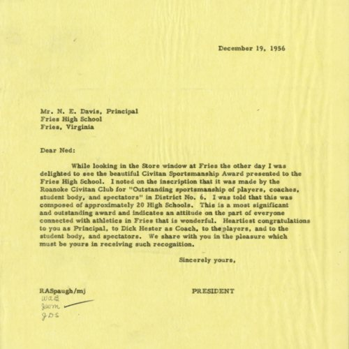 Letter about Civitan Sportsmanship Award, 1956 (Ms1989-039)
