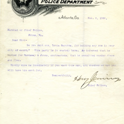 Letter About a Suspected Murderer, 1908 (Ms1989-039)