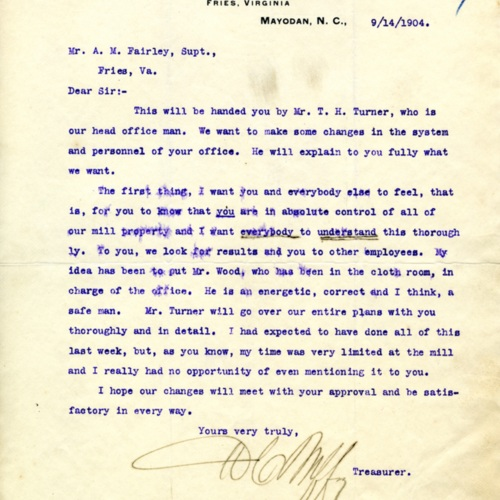 A Letter About Changing Mill Personnel, 1904 (Ms1989-039)
