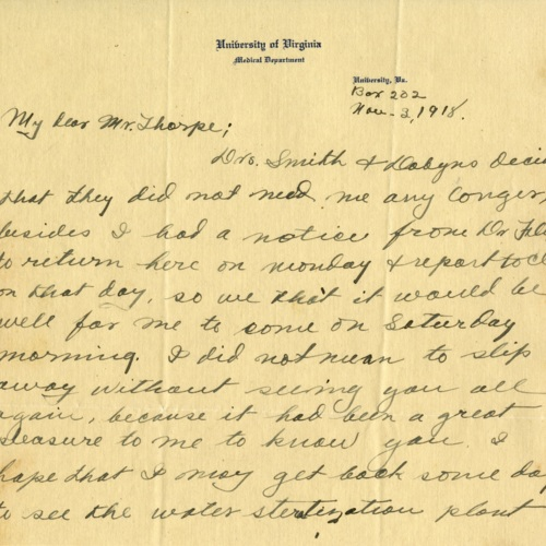 A Letter About the Flu Epidemic, 1918 (Ms1989-039)