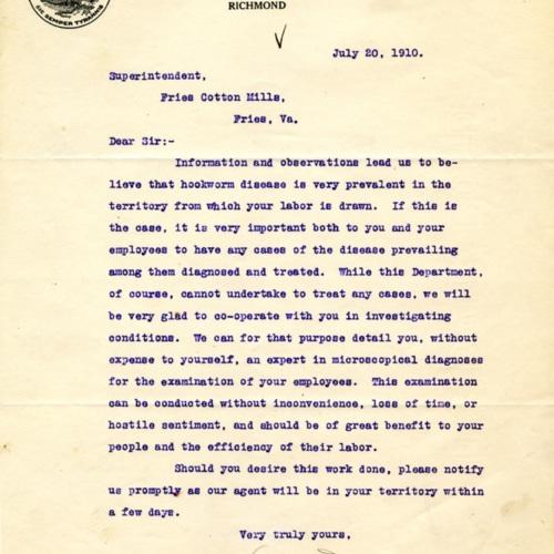 Letter About Hookworm, 1910 (Ms1989-039)