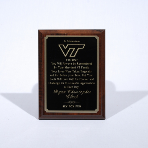 Plaques from Virginia Tech Alumni Association, Baltimore Chapter