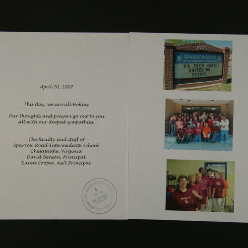 Photographs and note from Sparrow Road International School