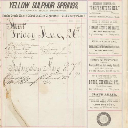 Yellow Sulphur Springs Hotel Account Book 1887-1895 (Ms1940-033)