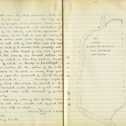 Description and Sketch of Land Acquired in Fries, 1899 (Ms1989-039)