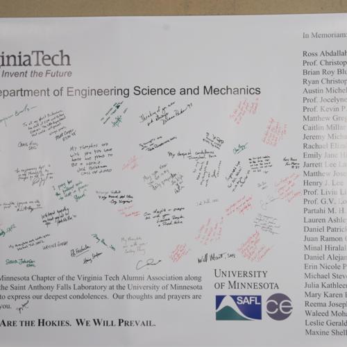 Banner from Minnesota Chapter of the Virginia Tech Alumni Association;  St. Anthony's Falls Laboratory at University of Minnesota