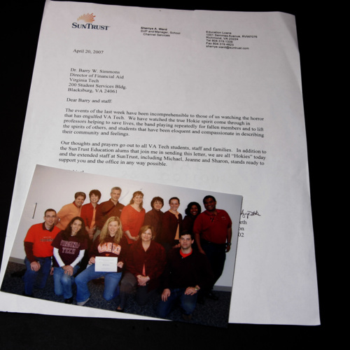 Letter and photograph from Sun Trust Bank Education Loans