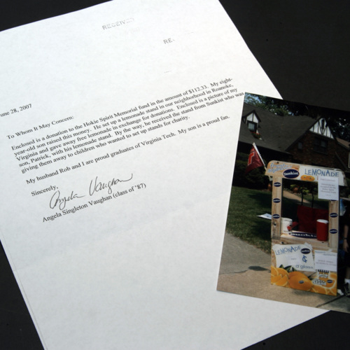Photograph and letter from Angela Singleton Vaughan