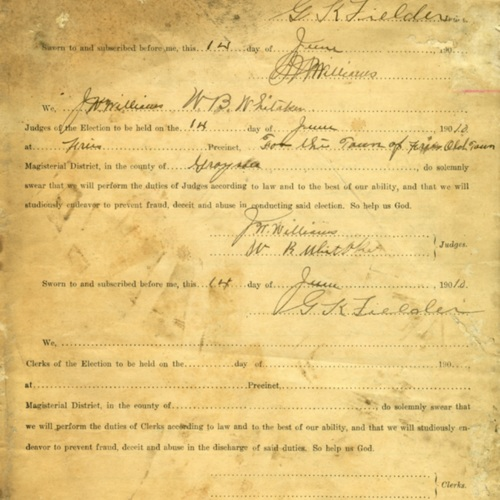 Records of a Fries Town Election, 1910 (Ms1989-039)