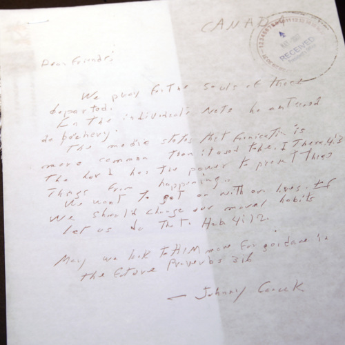 Letter from Johnny (surname illegible)