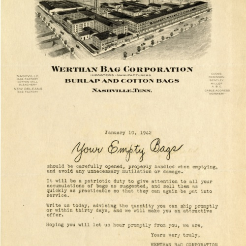 A Letter to Washington Mills Company About Used Bags (Ms1989-039)
