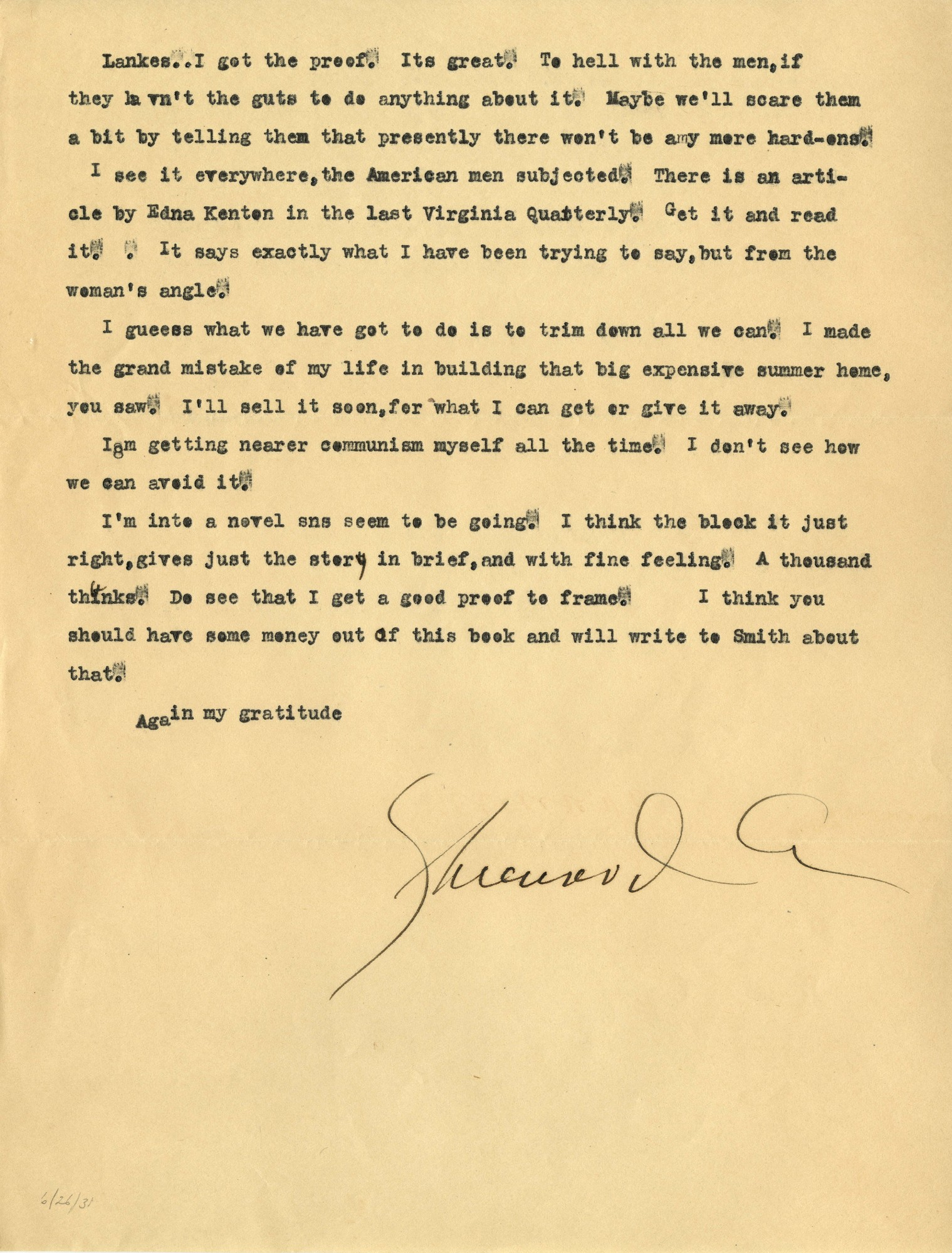 Letter, Sherwood Anderson to J. J. Lankes, June 26, 1931 (Ms2015-020)