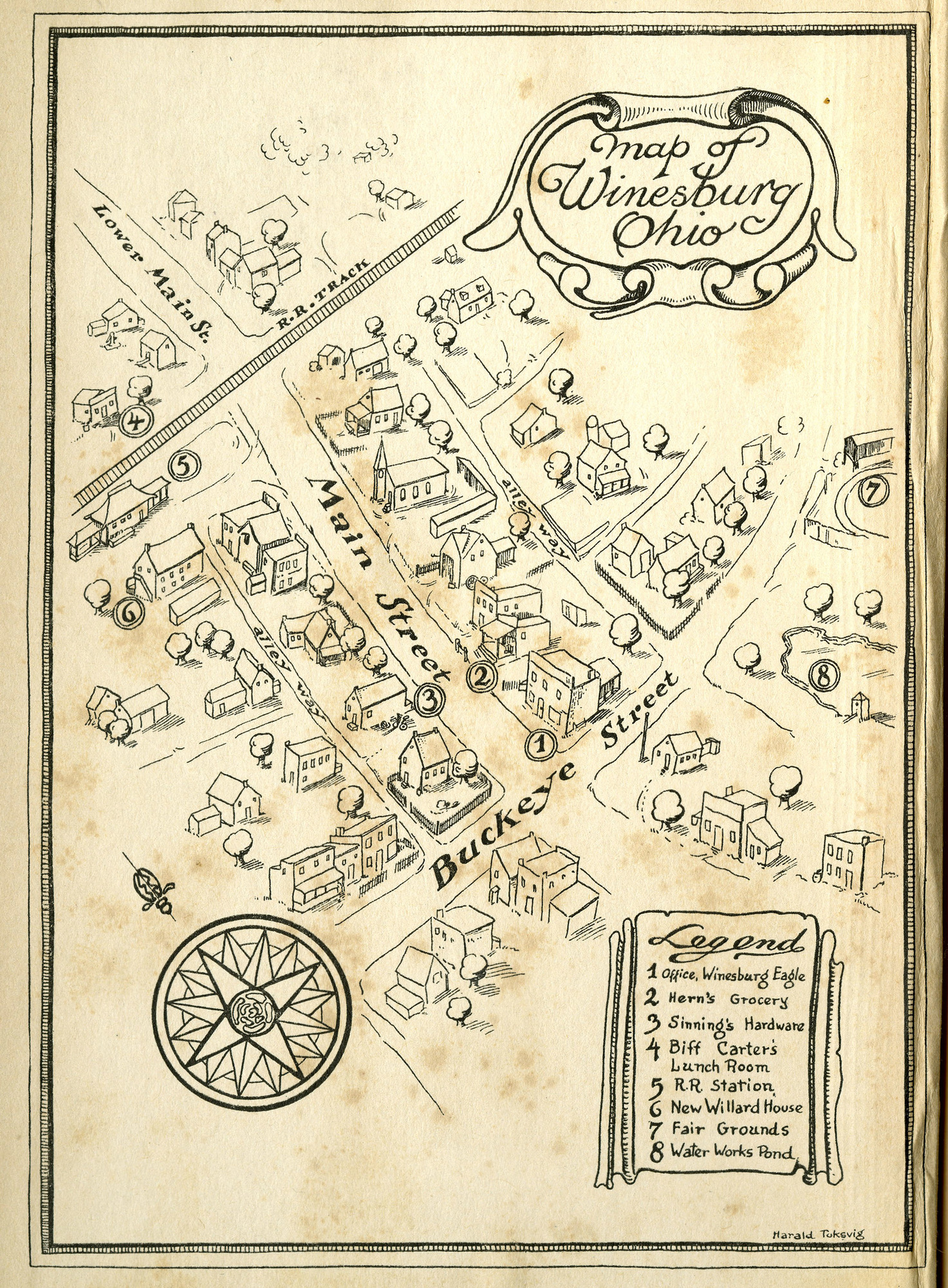 Front cover and map from verso, <i>Winesburg, Ohio</i>, first edition