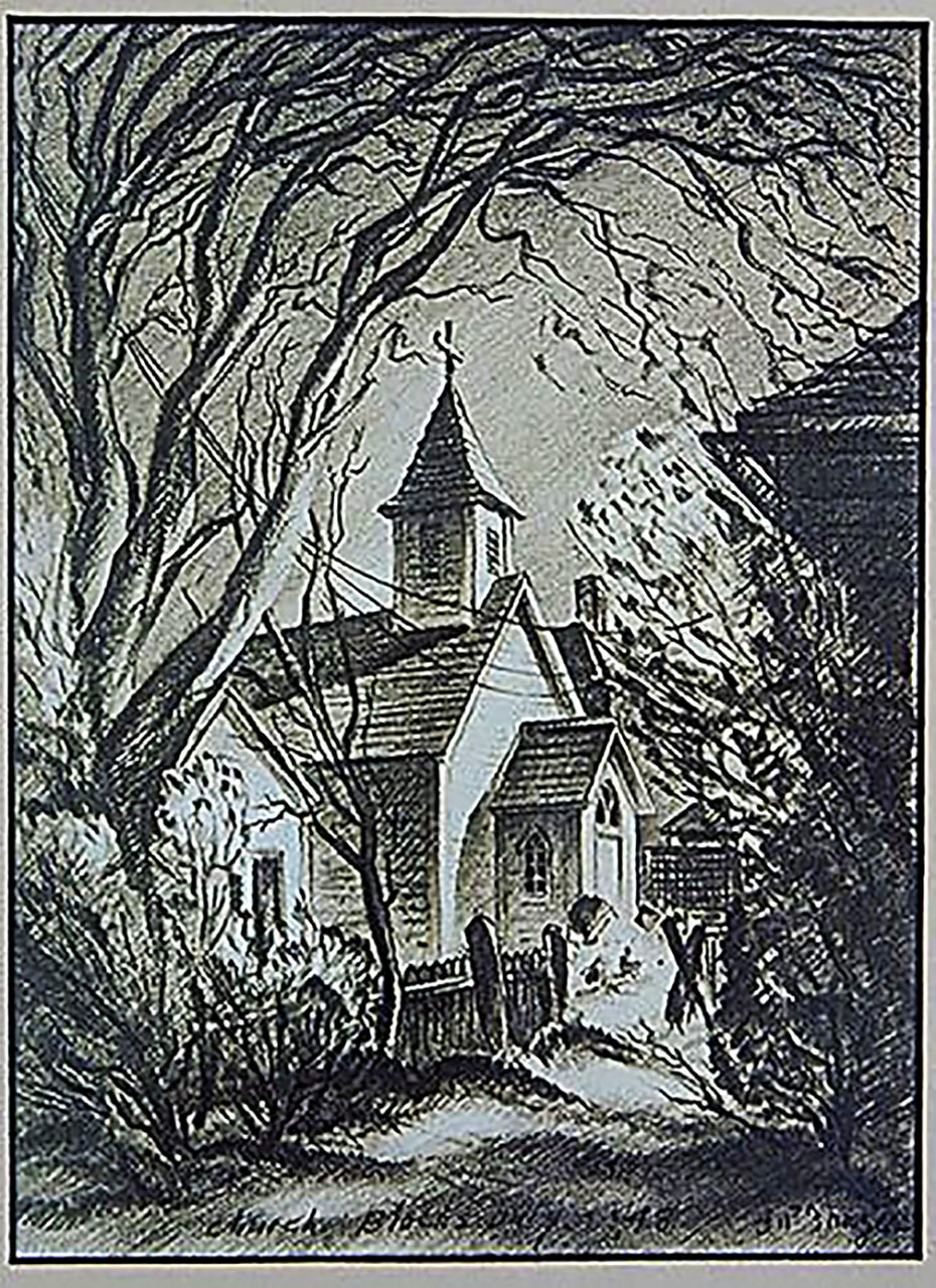 Drawing, Penn St. Church c. 1948