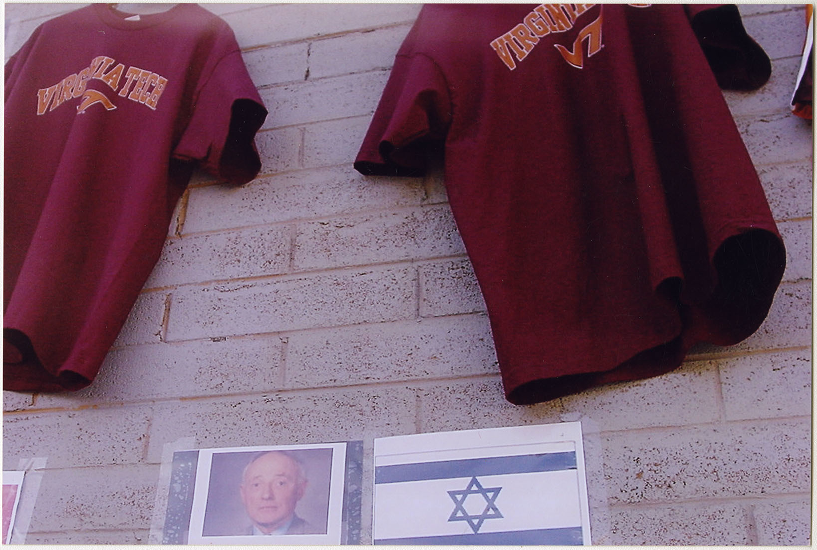 Photograph of Parking Lot Wall with VT jerseys, undated, F00048 (Ms2008-020)