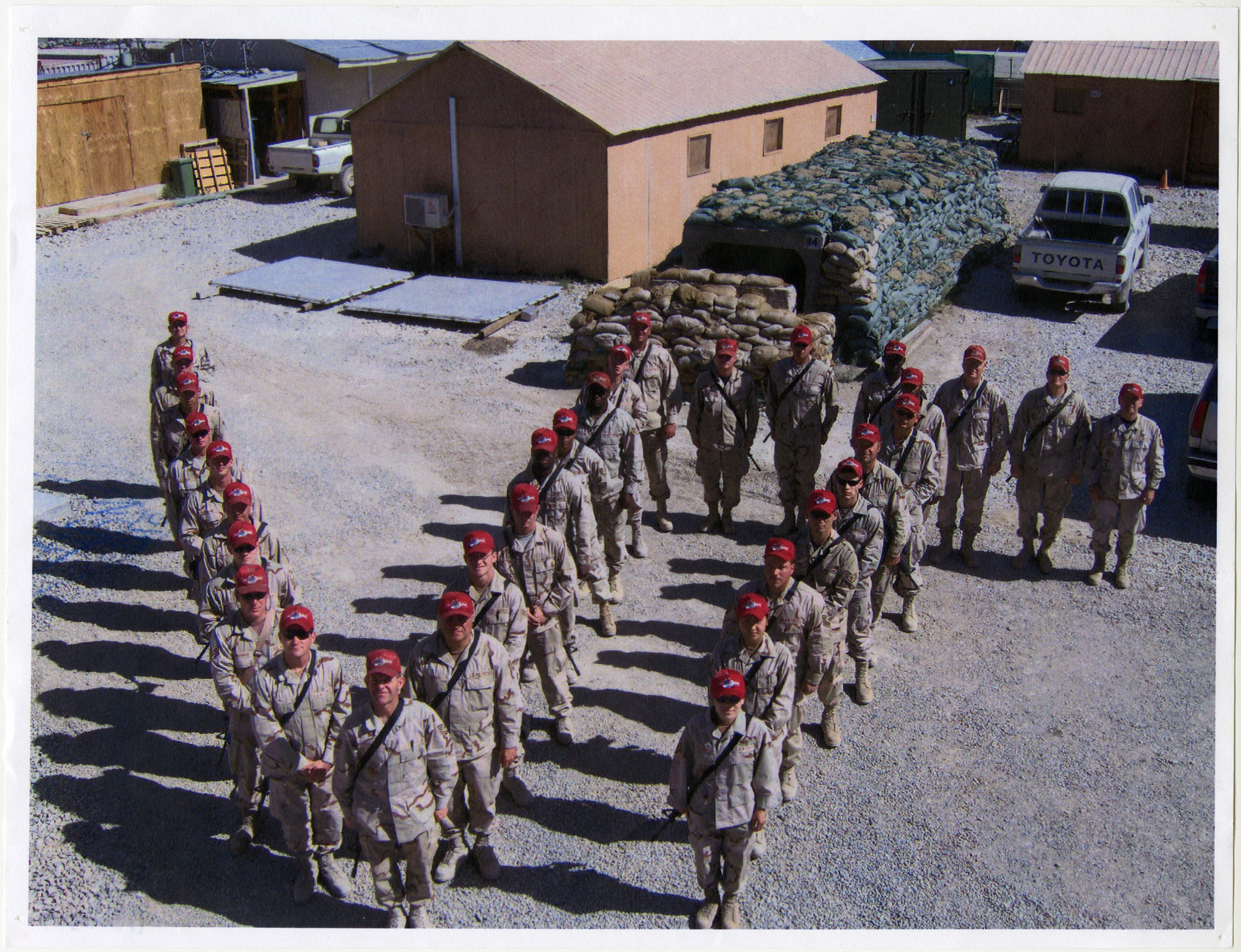 Photograph of Military Group in Formation of VIT in Front of Barracks, F00048 (Ms2008-020)