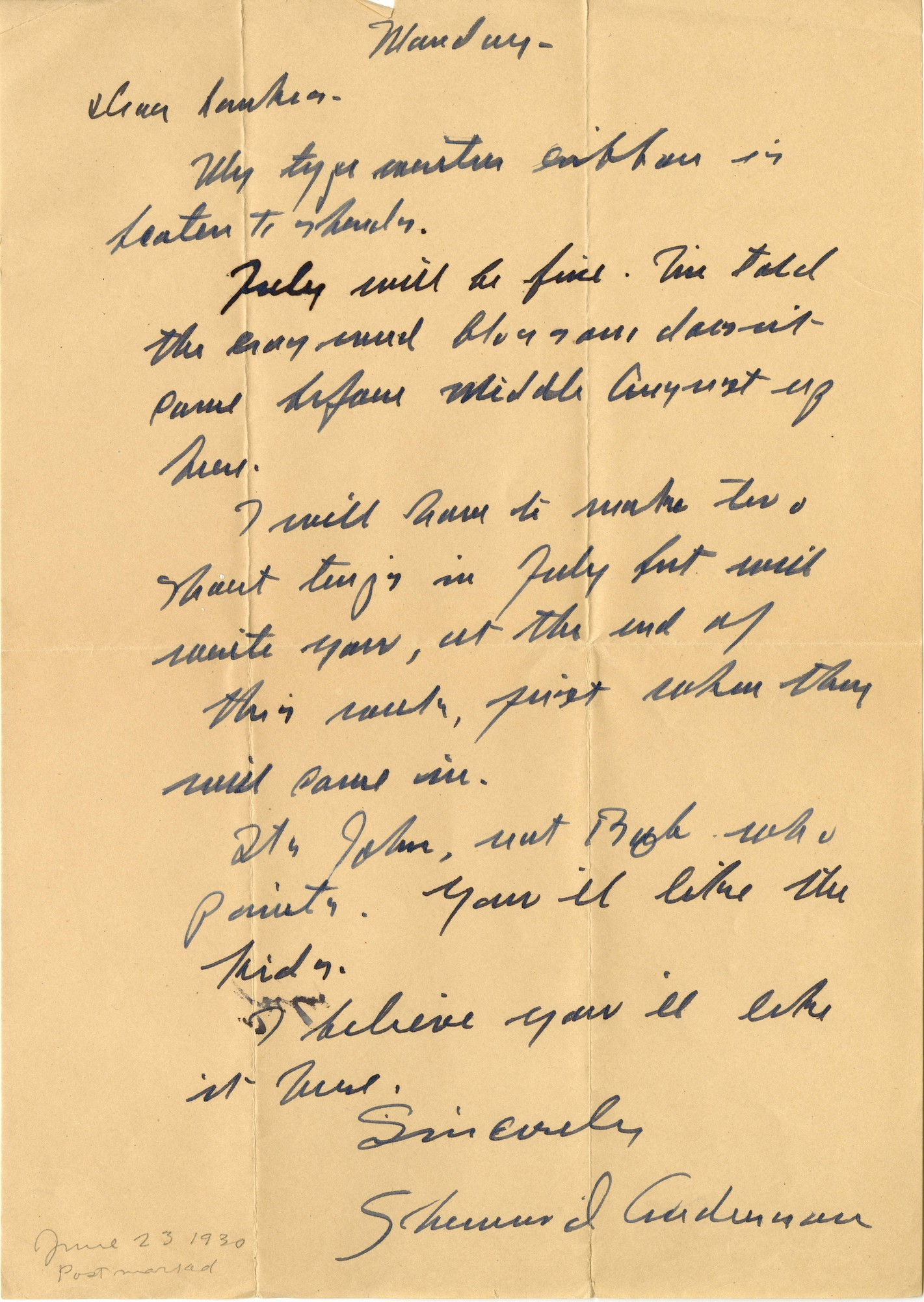 Letter, Sherwood Anderson to J. J. Lankes, June 23, 1930 (Ms2015-020)