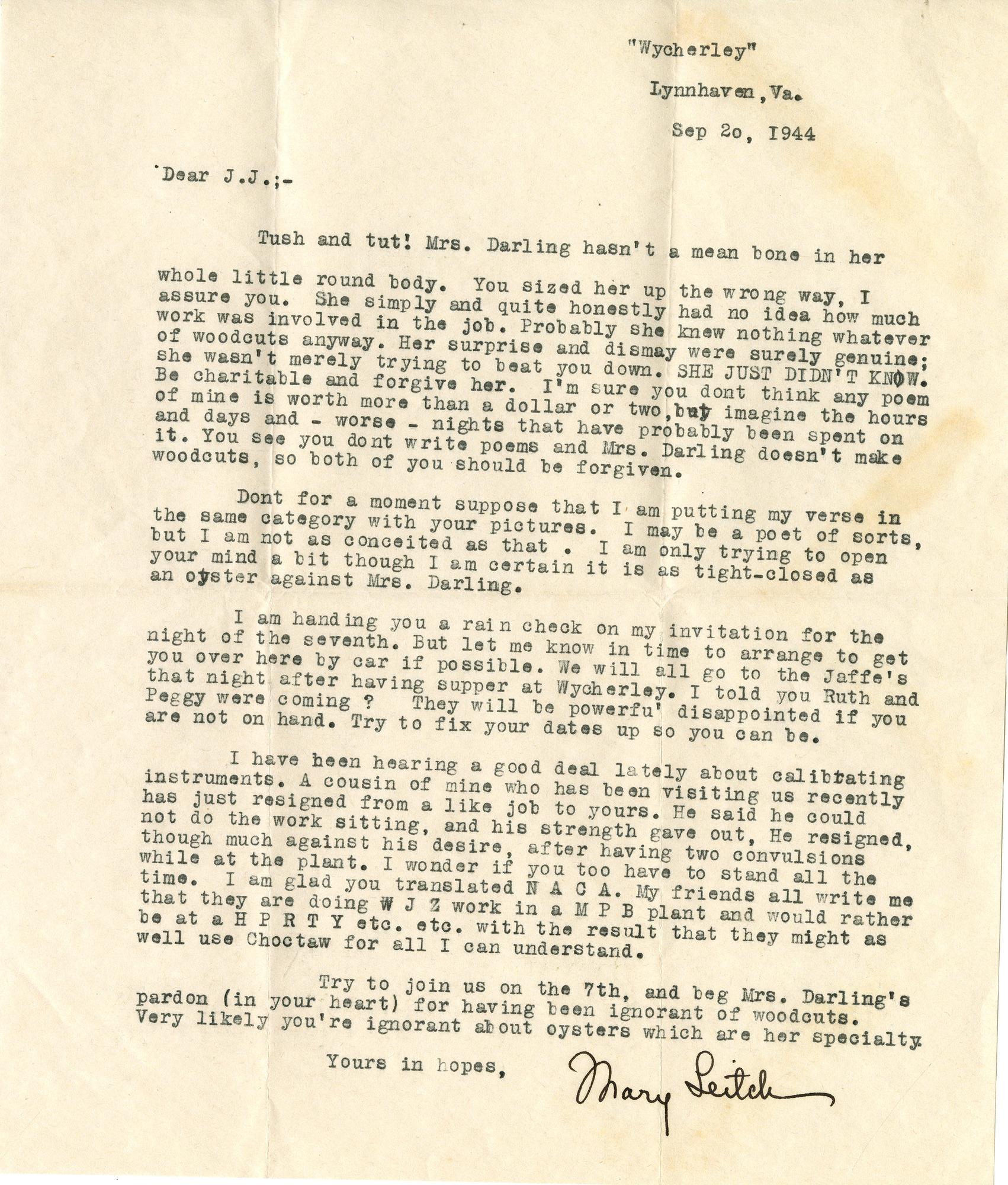 Letter, Mary Sinton Leitch to J. J. Lankes, September 20, 1944 (Ms2017-001)