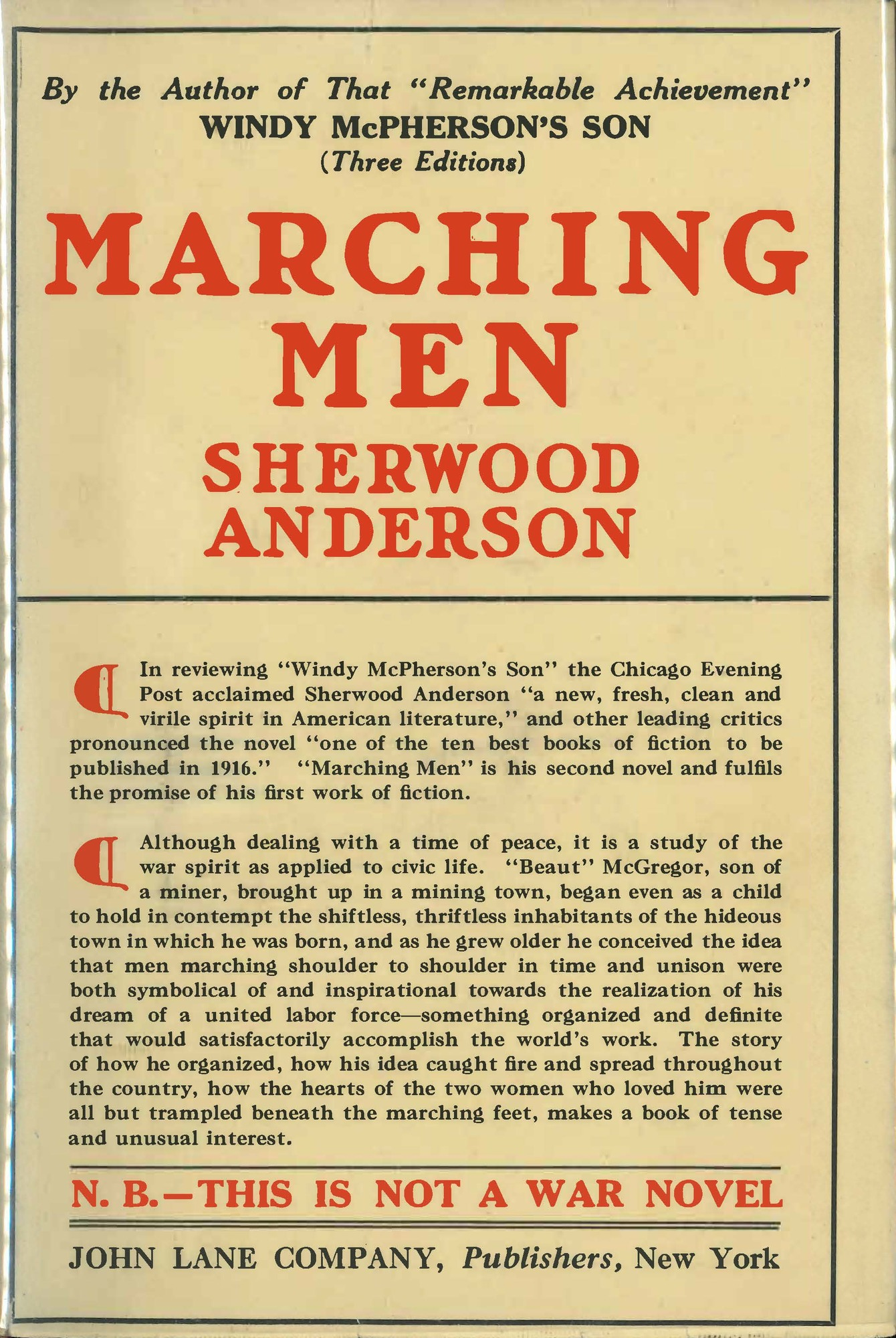 Dust jacket, <i>Marching Men</i>, first edition