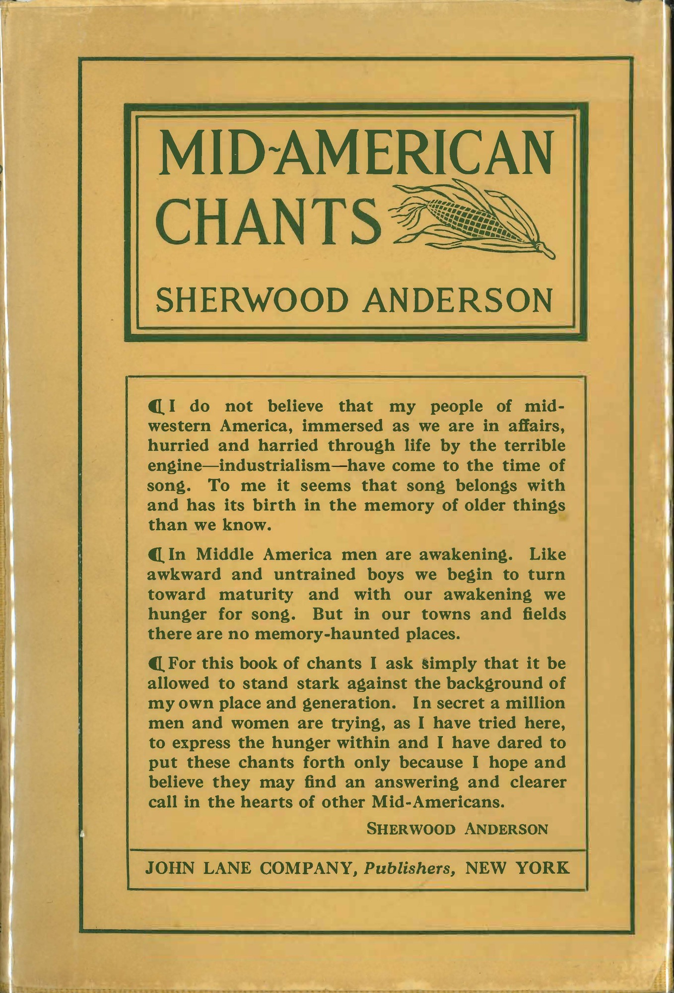 Front cover and close up images, <i>Mid-American Chants</i>, first edition