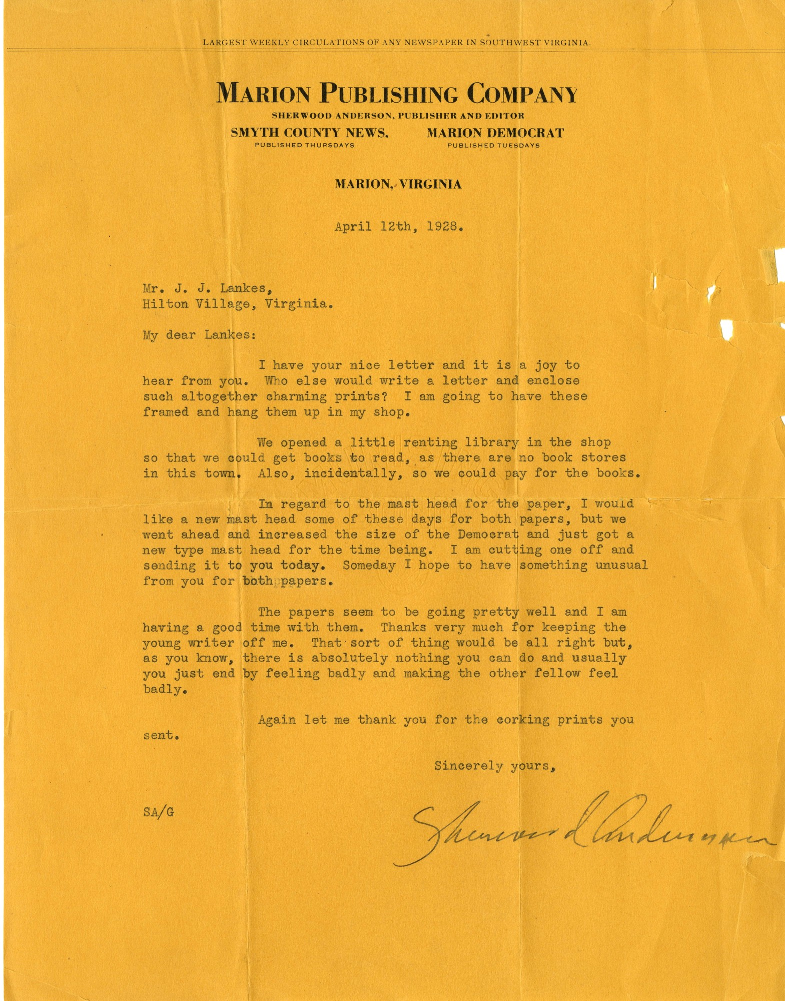 Letter, Sherwood Anderson to J. J. Lankes, April 12, 1928 (Ms2015-020)