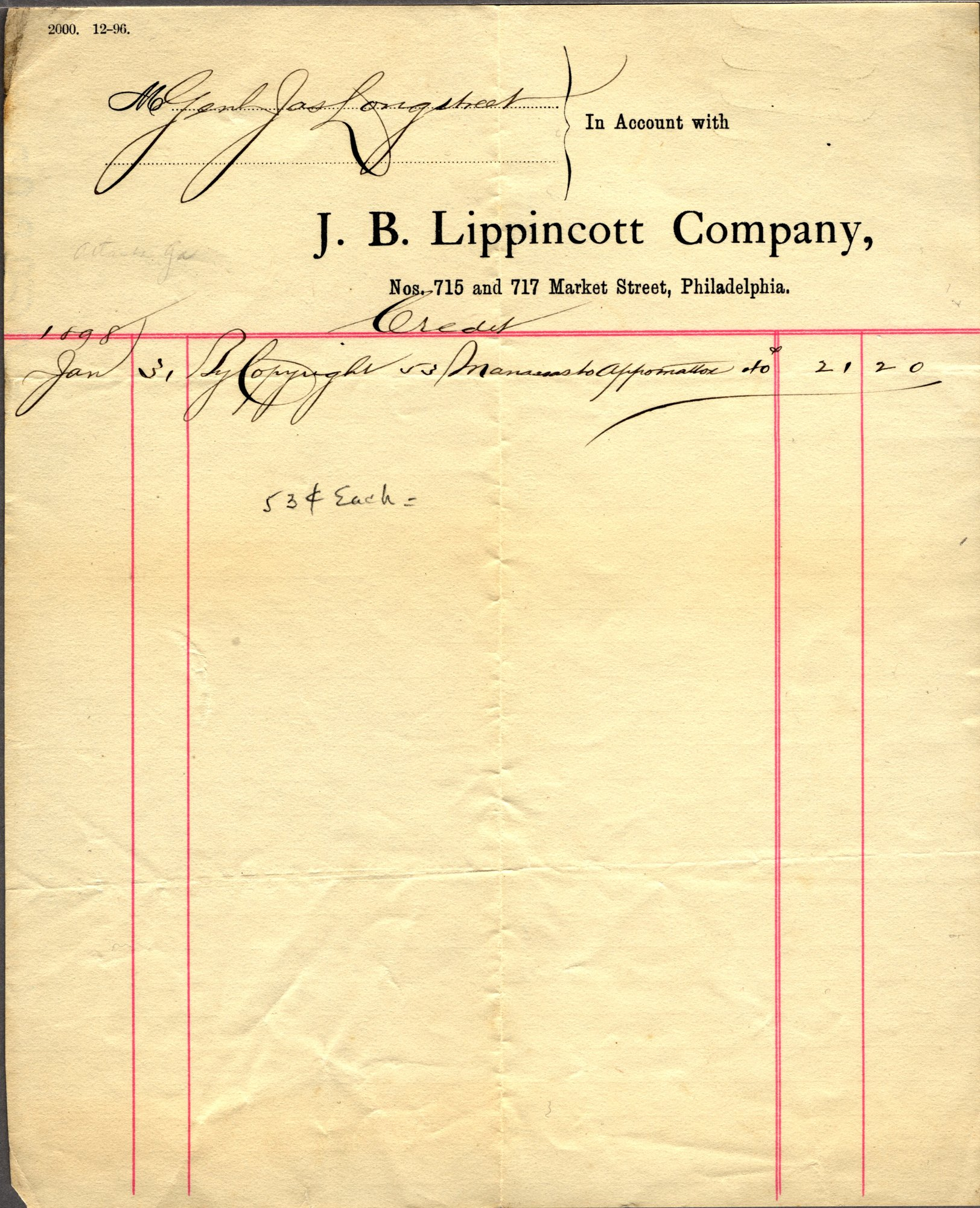 Ms1993_003_Longstreet_James_1898_Lippincott_recpt.jpg