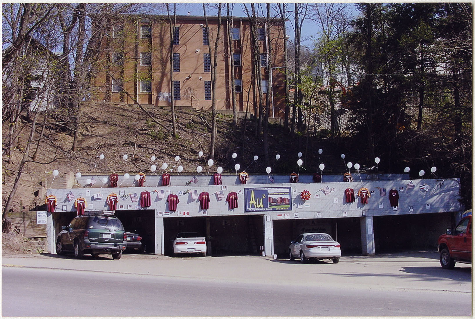 Photograph of a Parking Lot with VT Jerseys and Balloons, 2, F00048 (Ms2008-020)