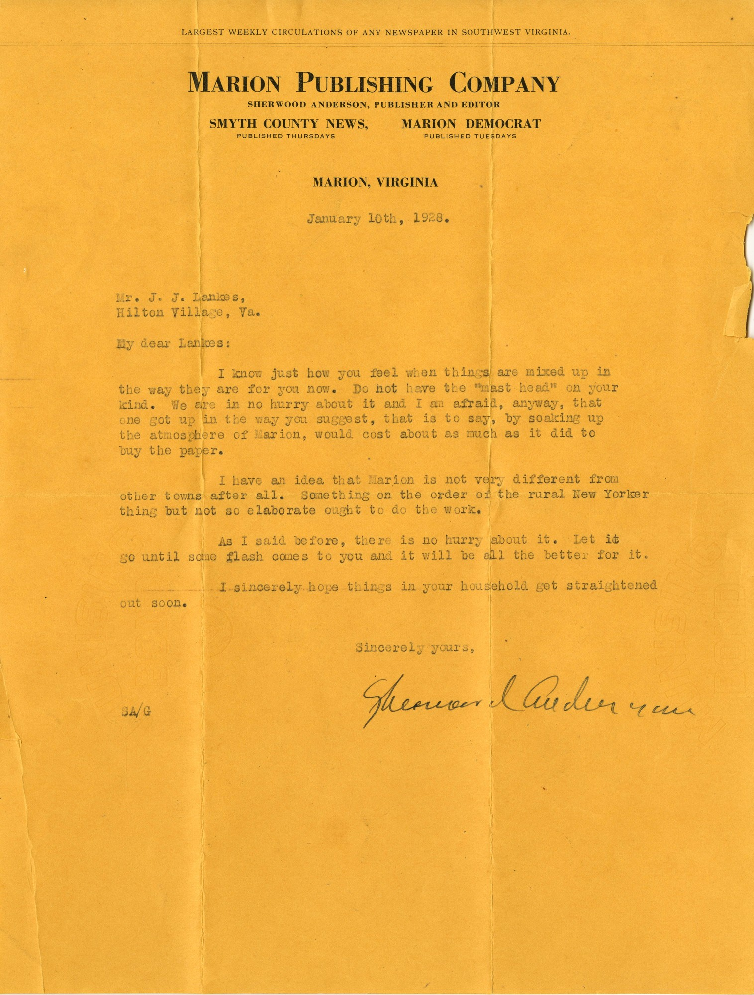 Letter, Sherwood Anderson to J. J. Lankes, January 10, 1928 (Ms2015-020)