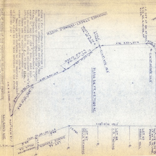 Plat of Parcel of the Washington Mills Company Property Being Conveyed to the Y.M.C.A. Board of Directors, 1973 (Ms1989-039)