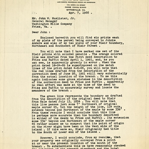 Letter Accompanying the Plats of Parcels of Land Being Sold to Employees, 1966 (Ms1989-039)