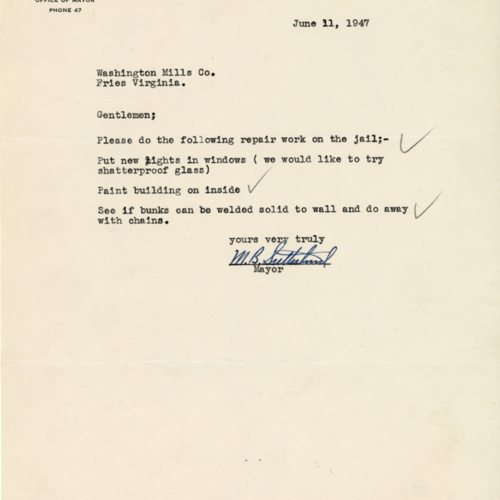 Letter requesting jail maintenance, 1947 (Ms1989-039)