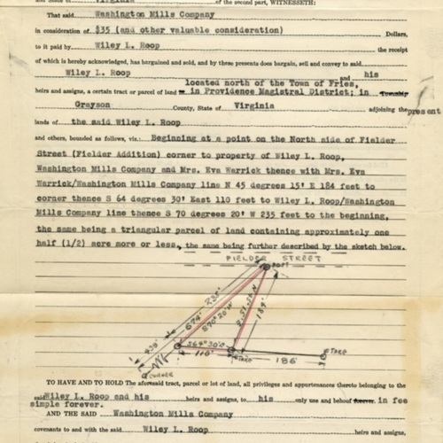 Deed for Plot of Land in Fries (Ms1989-039)