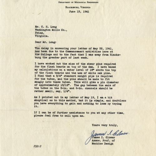 Letter to Mr. C.H. Long about Shear Pins, 1941 (Ms1989-039)