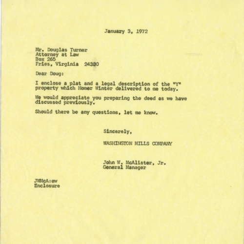 Letter Accompanying the Y.M.C.A. Plat and Description, 1972 (Ms1989-039)