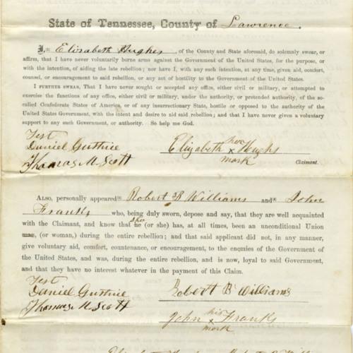 Elizabeth Hughes Claim for Damages, 1868 (Ms2009-048)