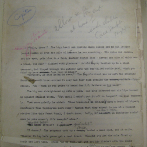 Two pages from a typescript draft of <em>Capitan</em> by Lucy Herndon Crockett.