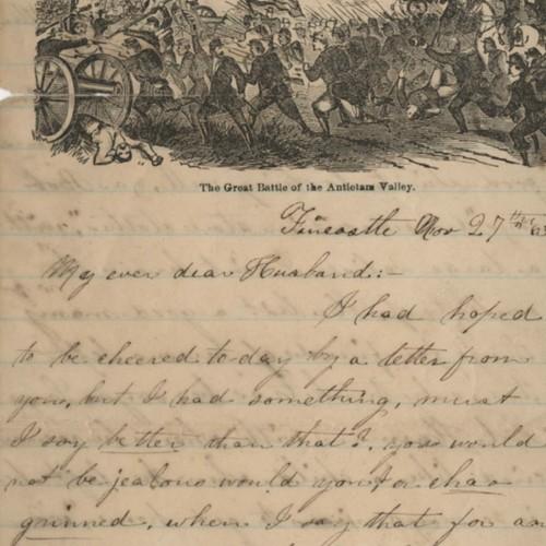 Letter, Nancy G. Figgat to her husband, Charles, November 11, 1863
