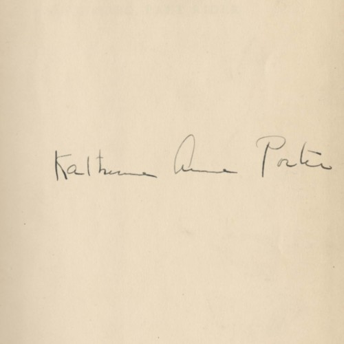 Author's signature and title page,&nbsp;<em>Pale Horse, Pale Rider</em> by Katherine Anne Porter (1939)