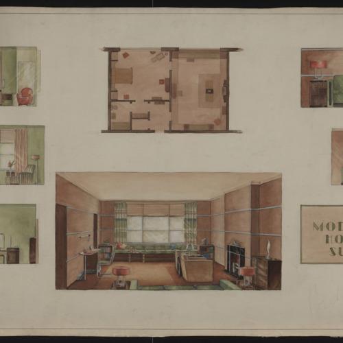 "Watercolor Interior Design, ""A Moderne Hotel Suite"", n.d. (Ms2001-005)"