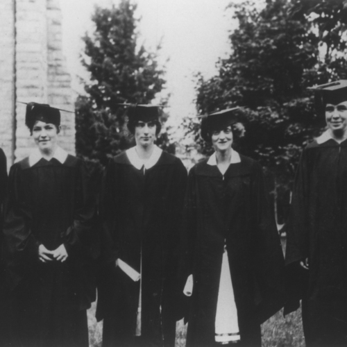 Photograph, First Virginia Tech Coeds at Graduation, 1925