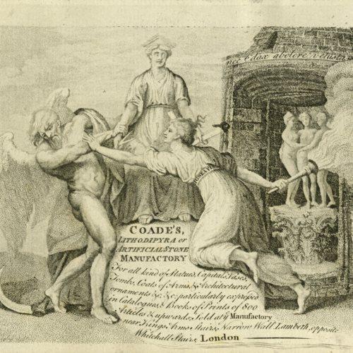 Coade's Lithodipyra or Artificial Manufactory Trade Card, 1784? (Ms2015-045)