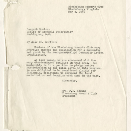 Correspondence, Mrs F.N. Atkins [Blacksburg Woman's Club President] to Sargent Shriver,Washington, D.C., May 3, 1965 (Ms1963-002)