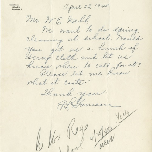 Letter to Mr. Webb about Cleaning Supplies, 1940 (Ms1989-039)