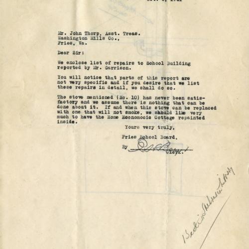 List of Repairs to High School, 1941 (Ms1989-039)