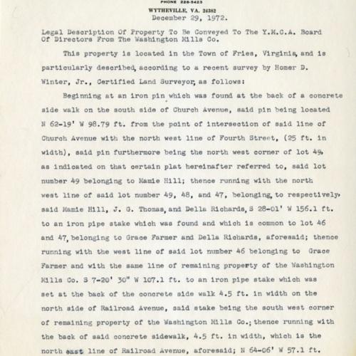 Description of a Land Parcel, 1972 (Ms1989-039)