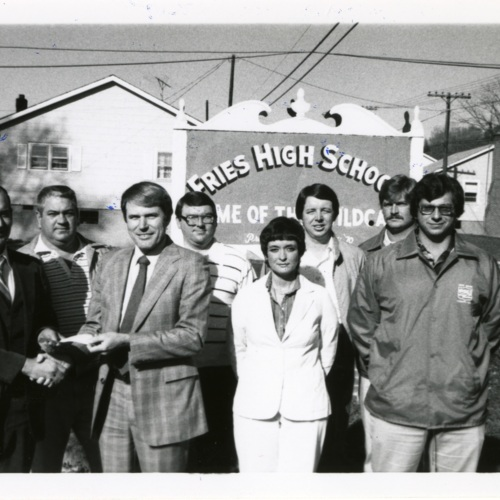 Group in front of the Fries High School Sign (Ms1989-039)