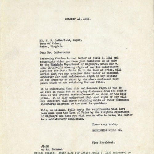Letter About Land for Road Improvements, 1941 (Ms1989-039)