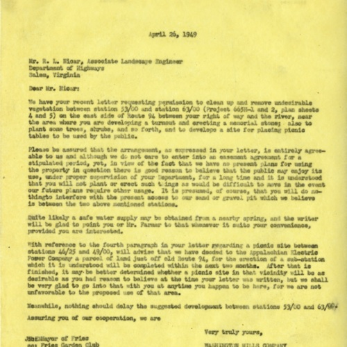 Letter Confirming Land Cleanup, 1949 (Ms1989-039)